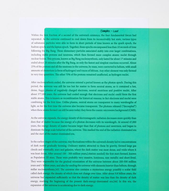 Leaf A4 reading aid