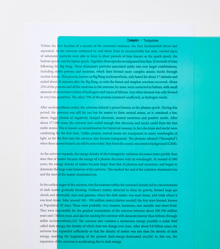 Turquoise A4 reading aid