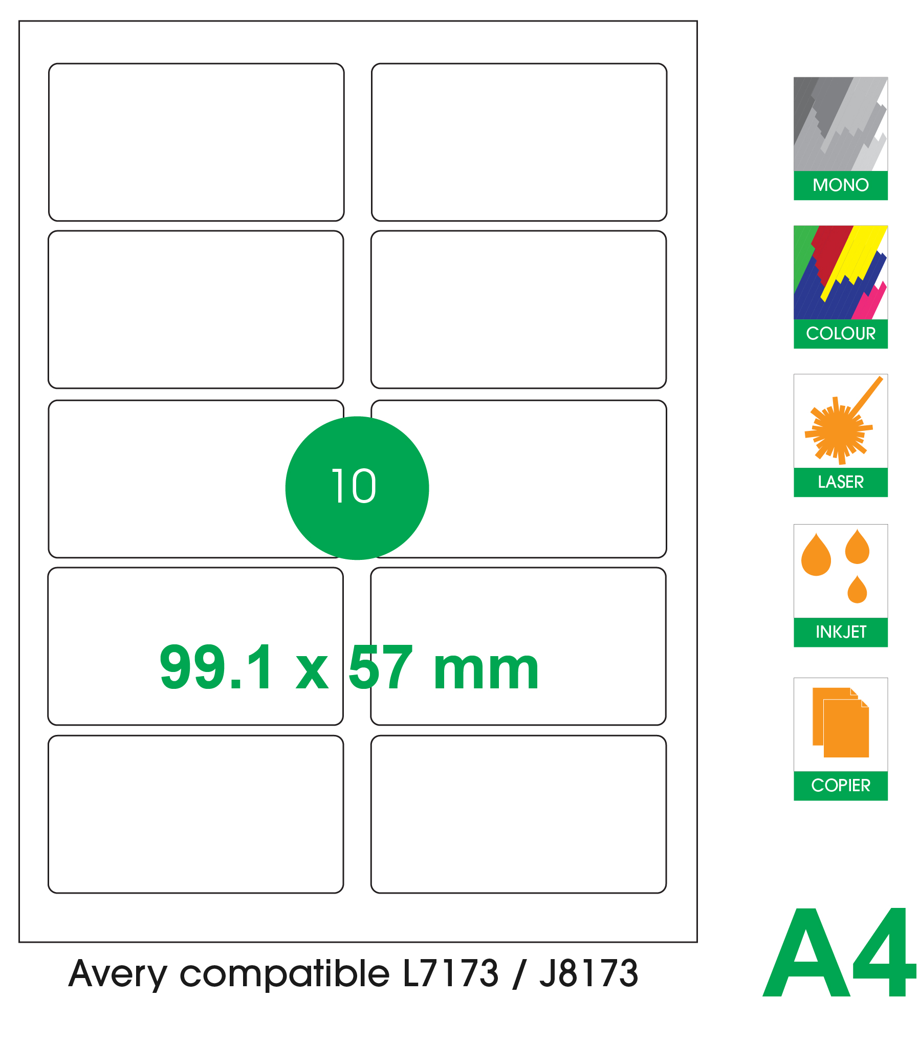 10 labels per A4 sheet