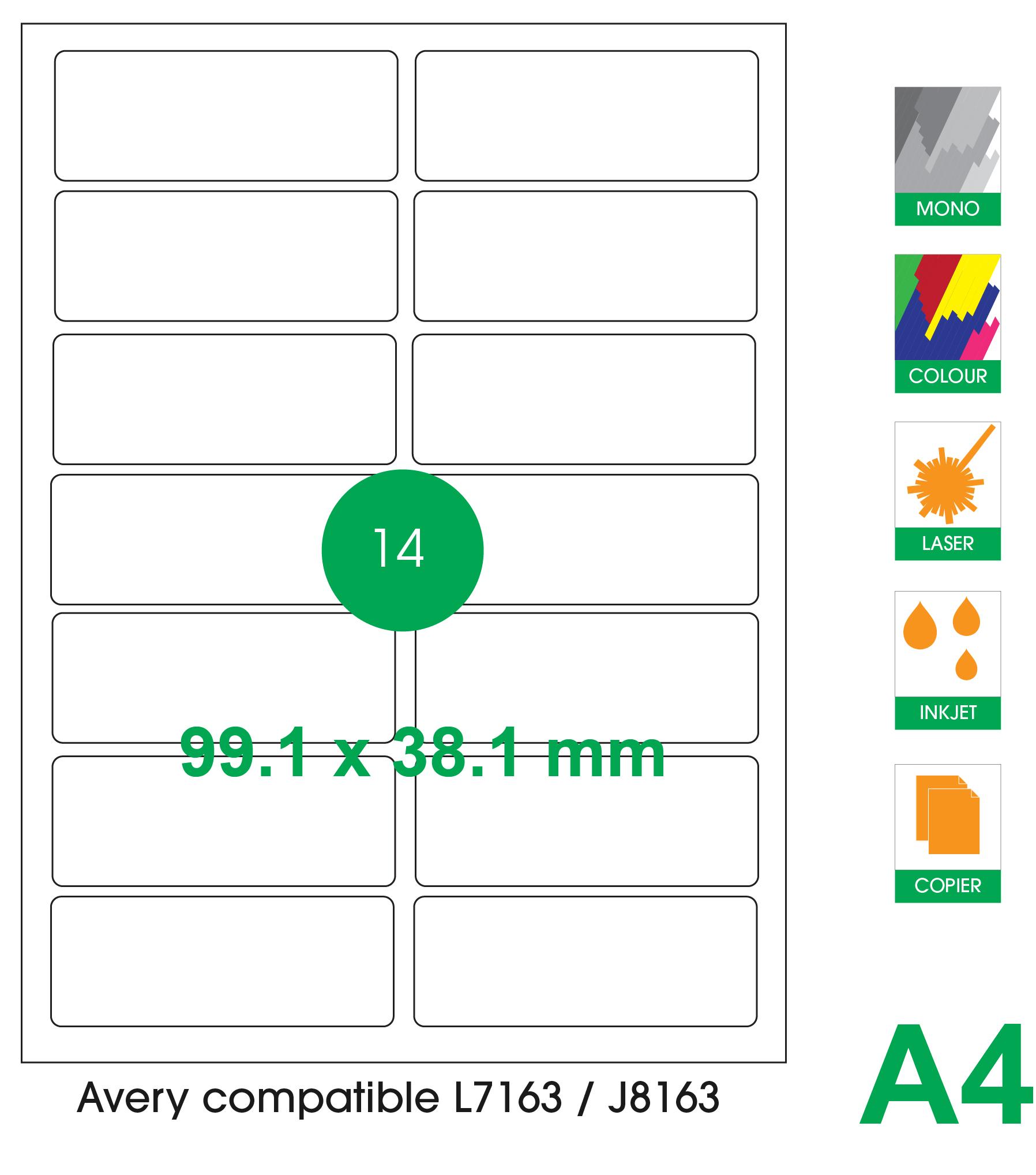 14 labels per A4 sheet