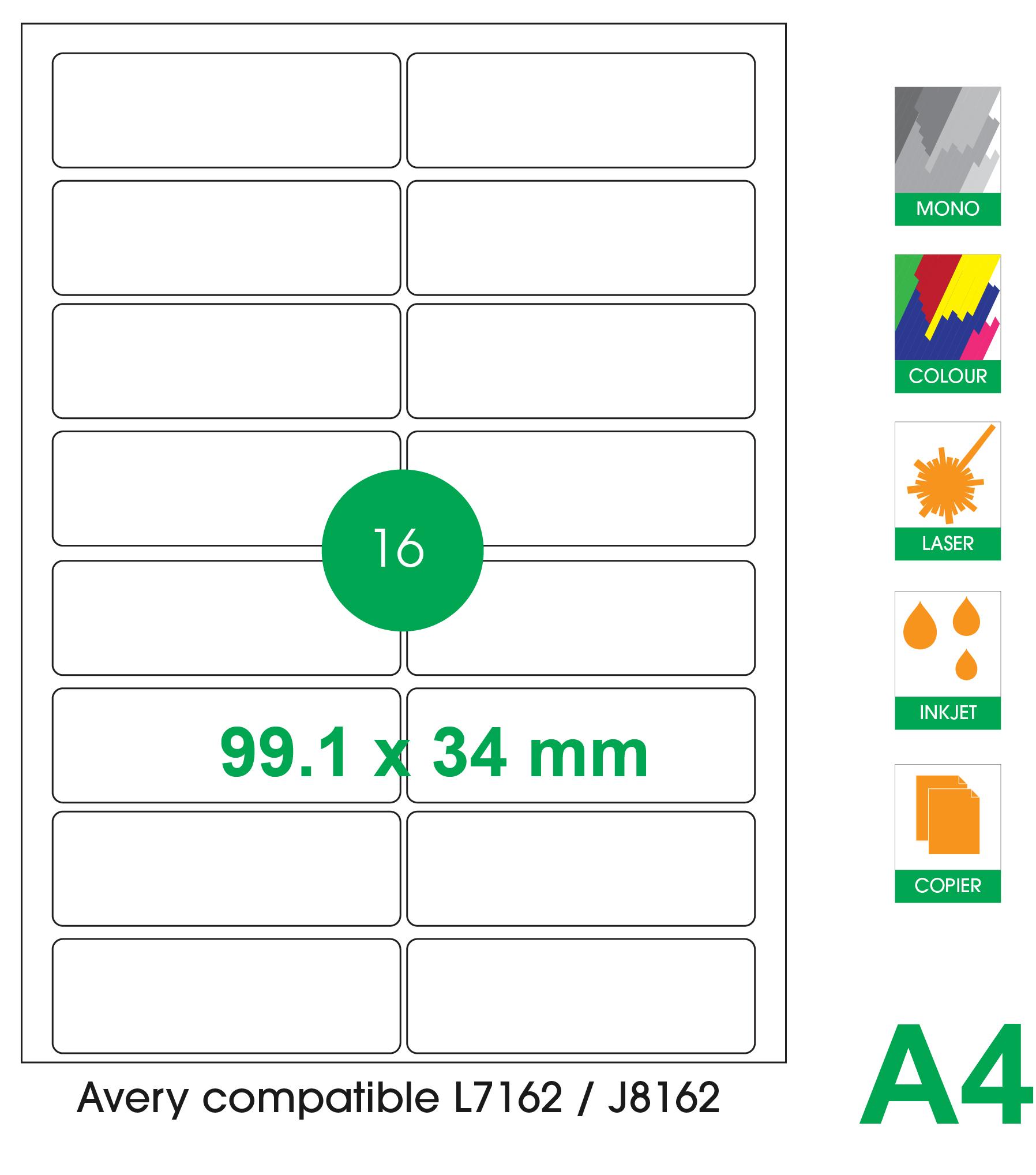 16 labels per A4 sheet