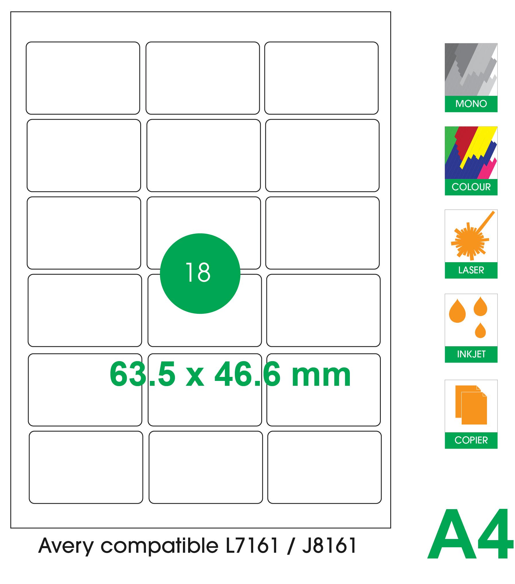 18 labels per A4 sheet