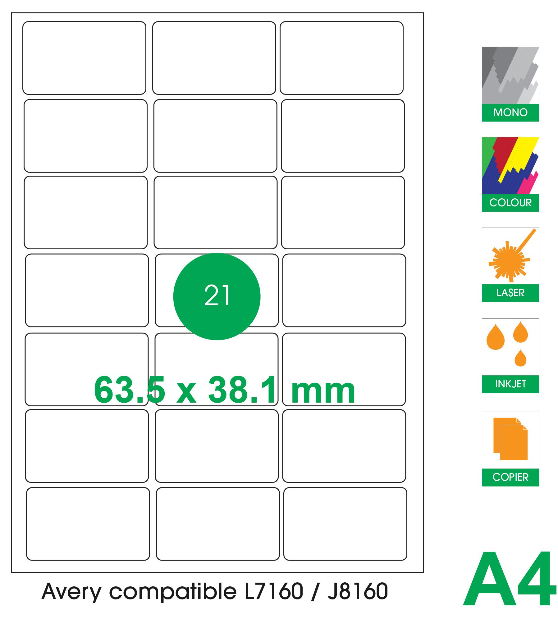 21 labels per A4 sheet