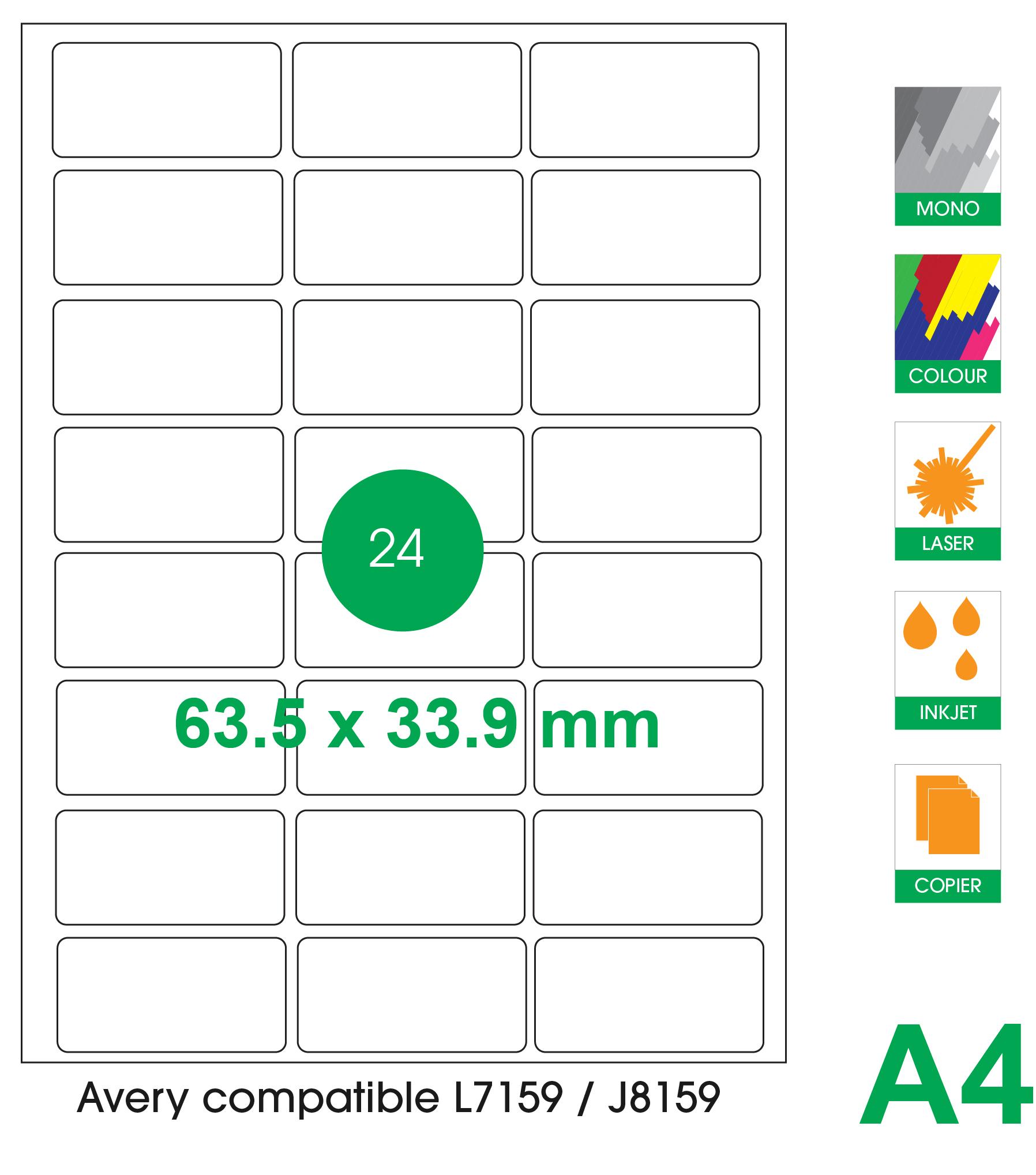 24 labels per A4 sheet