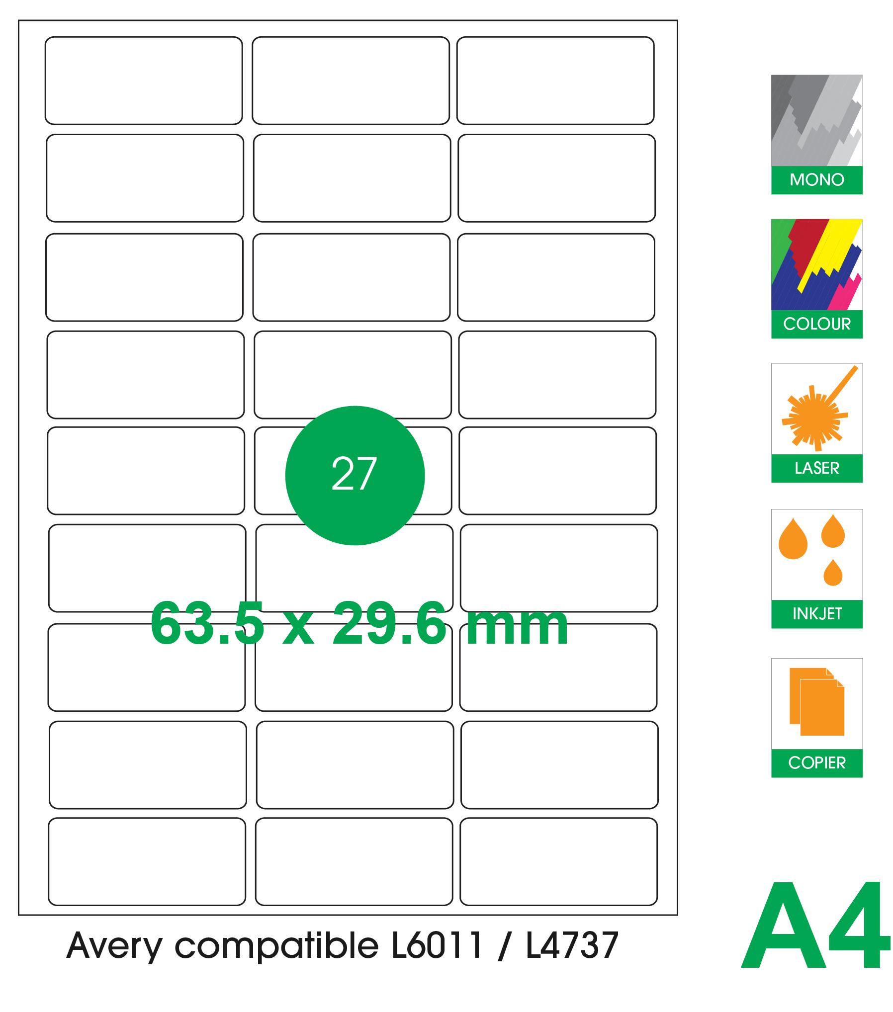 27 labels per A4 sheet