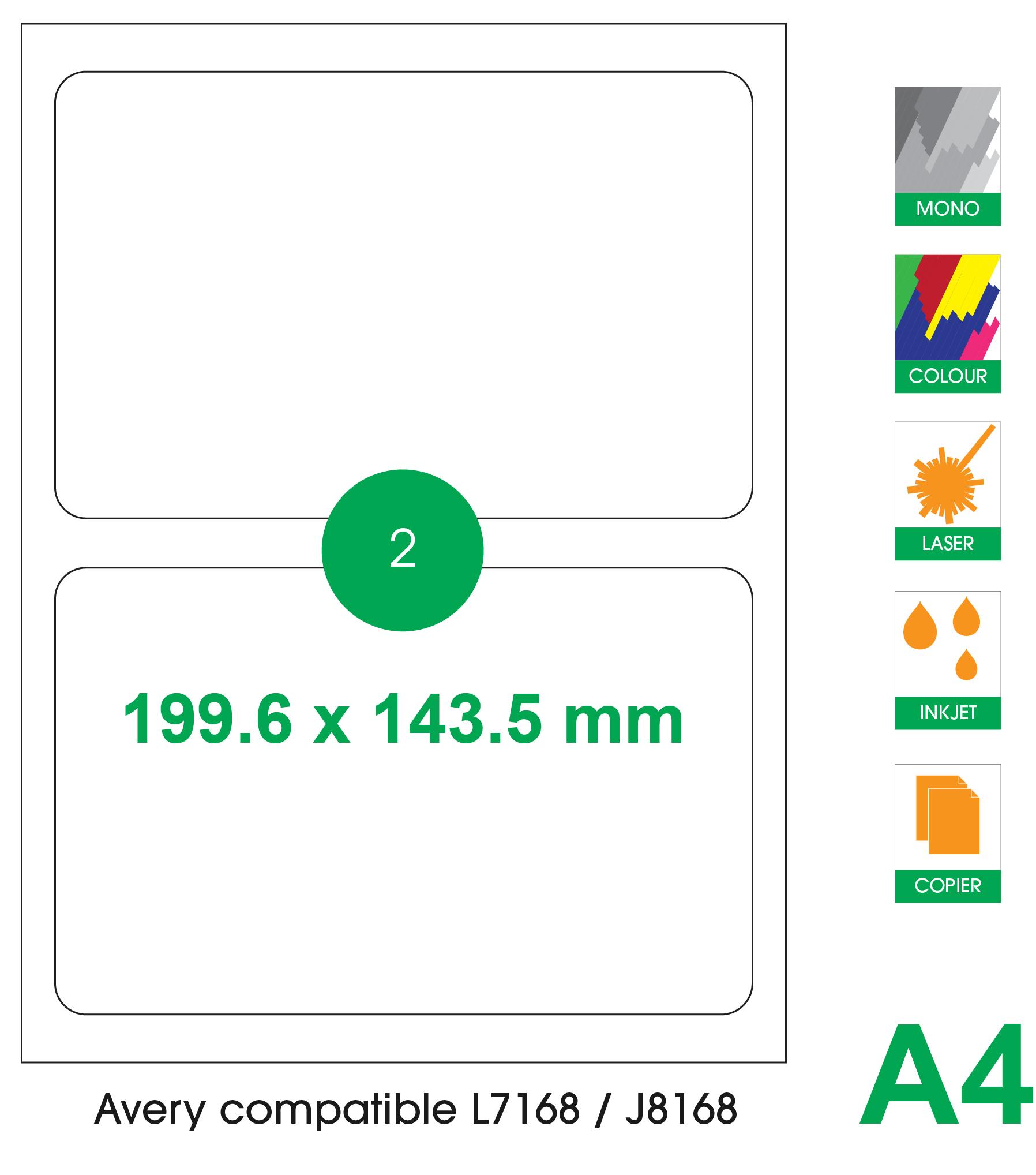 2 labels per A4 sheet