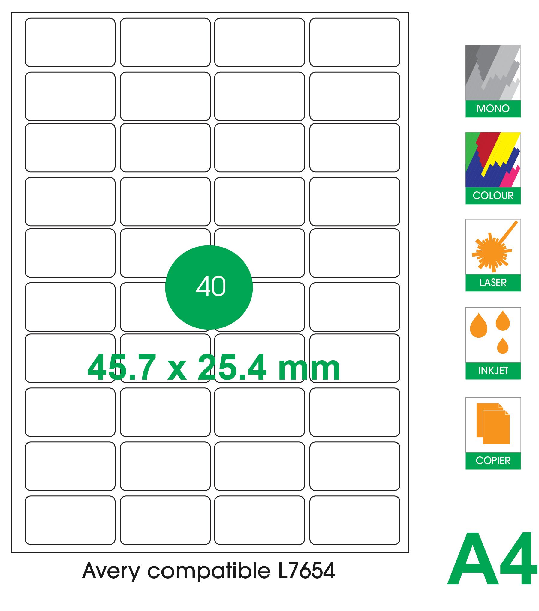 40 labels per A4 sheet