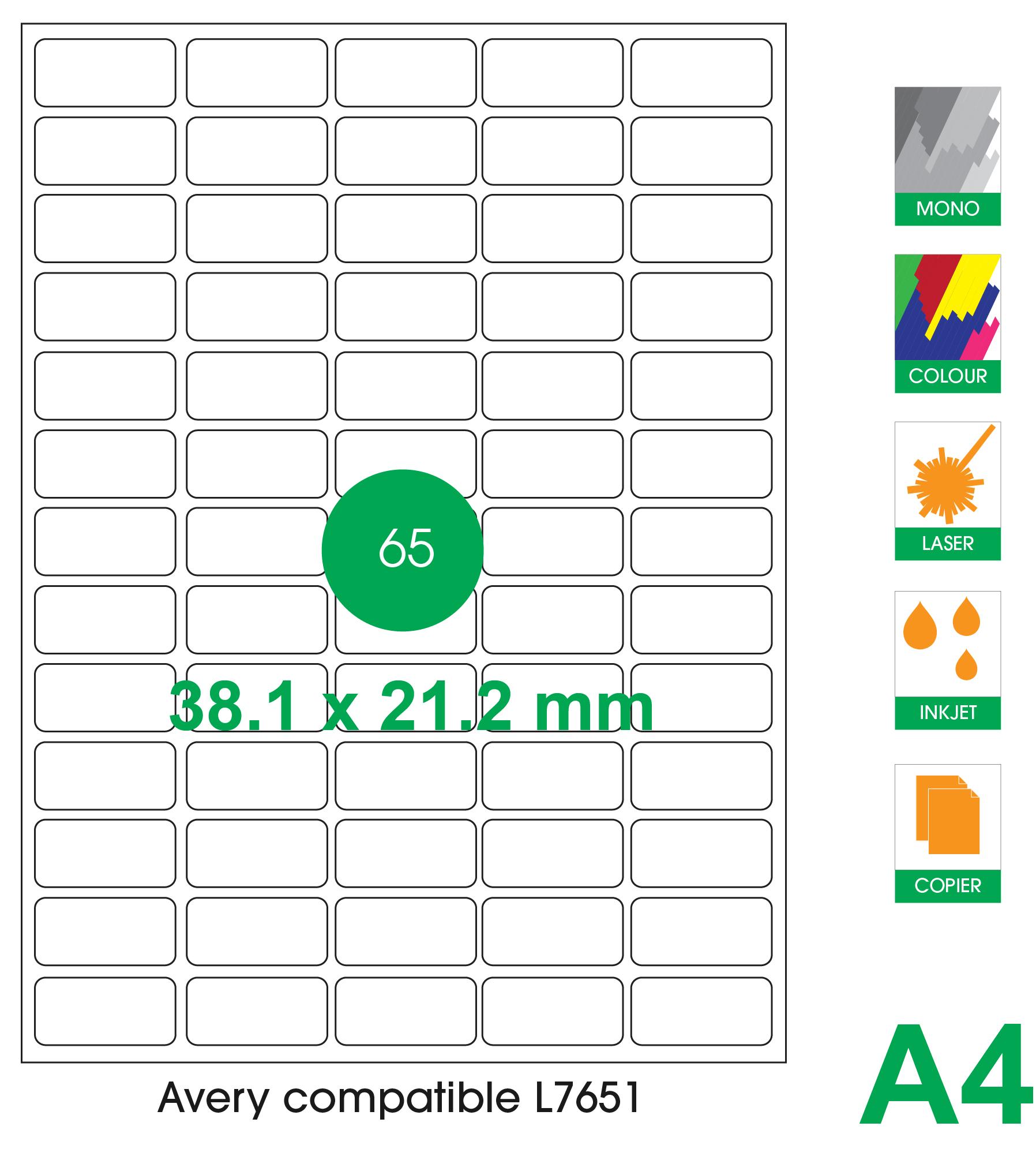 65 labels per A4 sheet