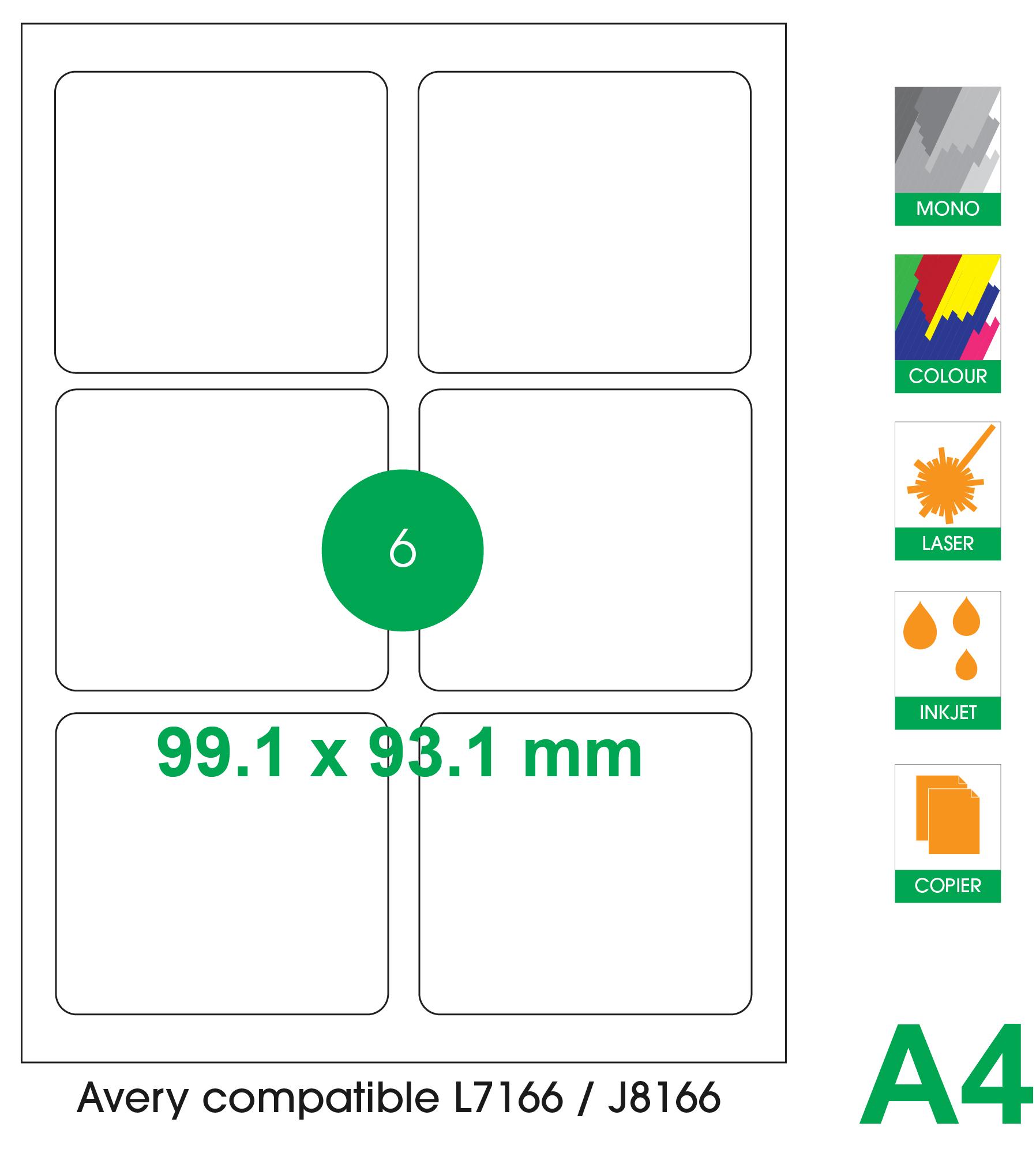 6 labels per A4 sheet