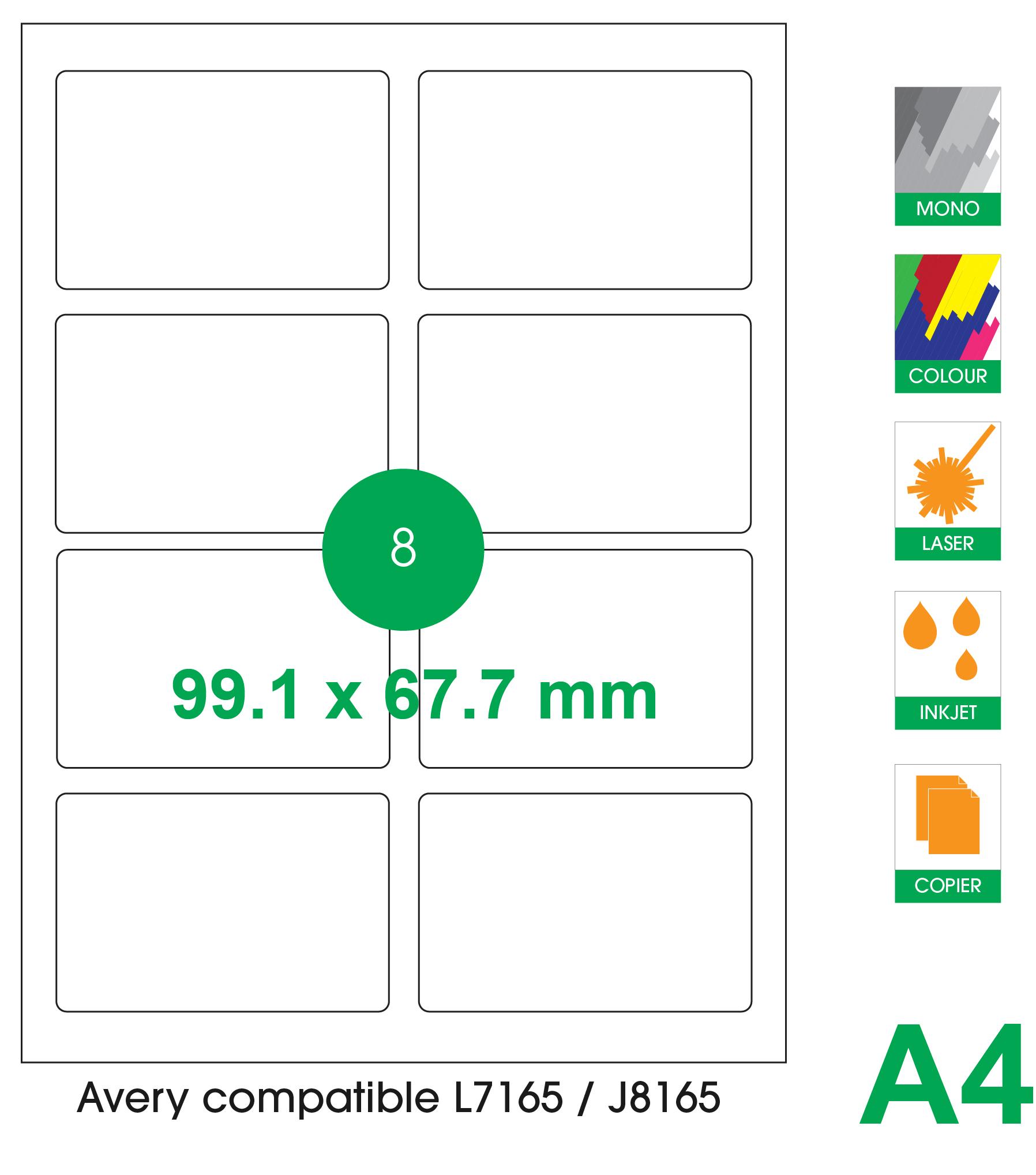 8 labels per A4 sheet