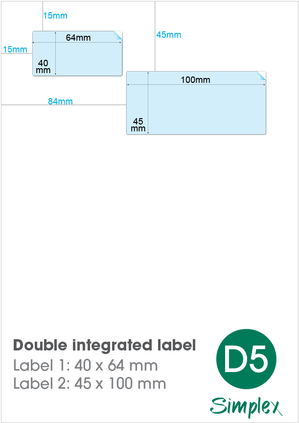 D5 Double Integrated Label