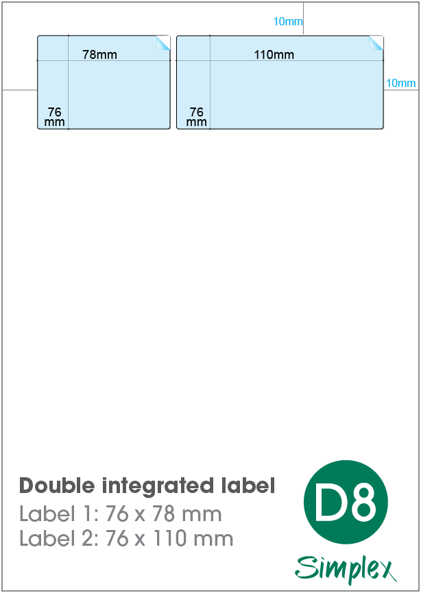D8 Double Integrated Label